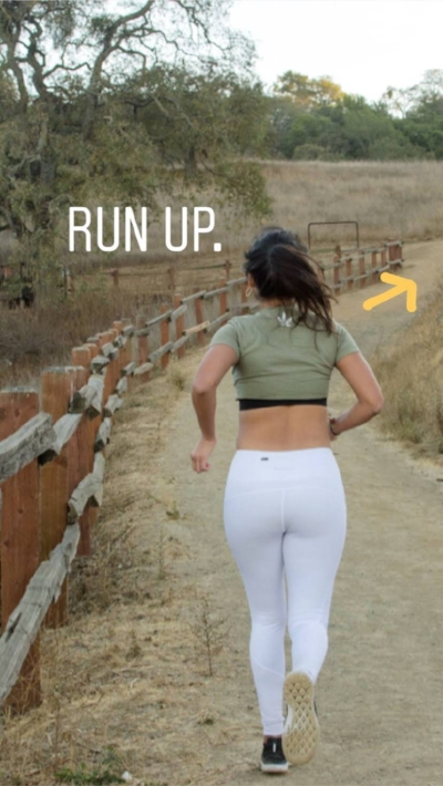 An action shot from my first partner brand photo shoot with @ StigmaActivewear . Definitely needed some cbd cream on my calves after running uphill a few times.