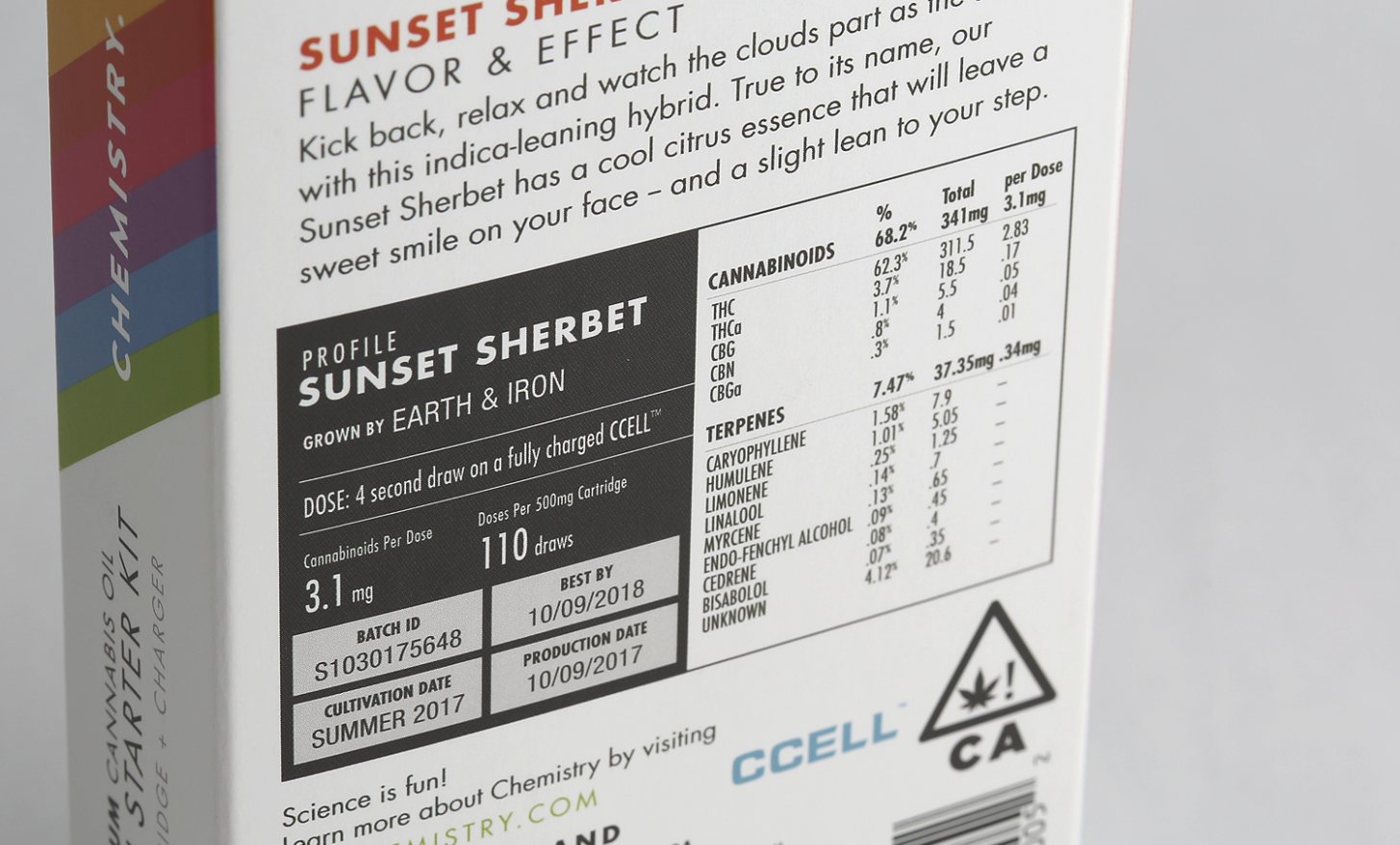 Here's an example of the cannabinoid + terpene breakdown on the back of this  Chemistry Cannabis Oil  box. As you can see, it's very high in THC (62.3%) and Caryophyllene (1.58%); This means this product would cause noticeable psychoactive and anti-pain effects.