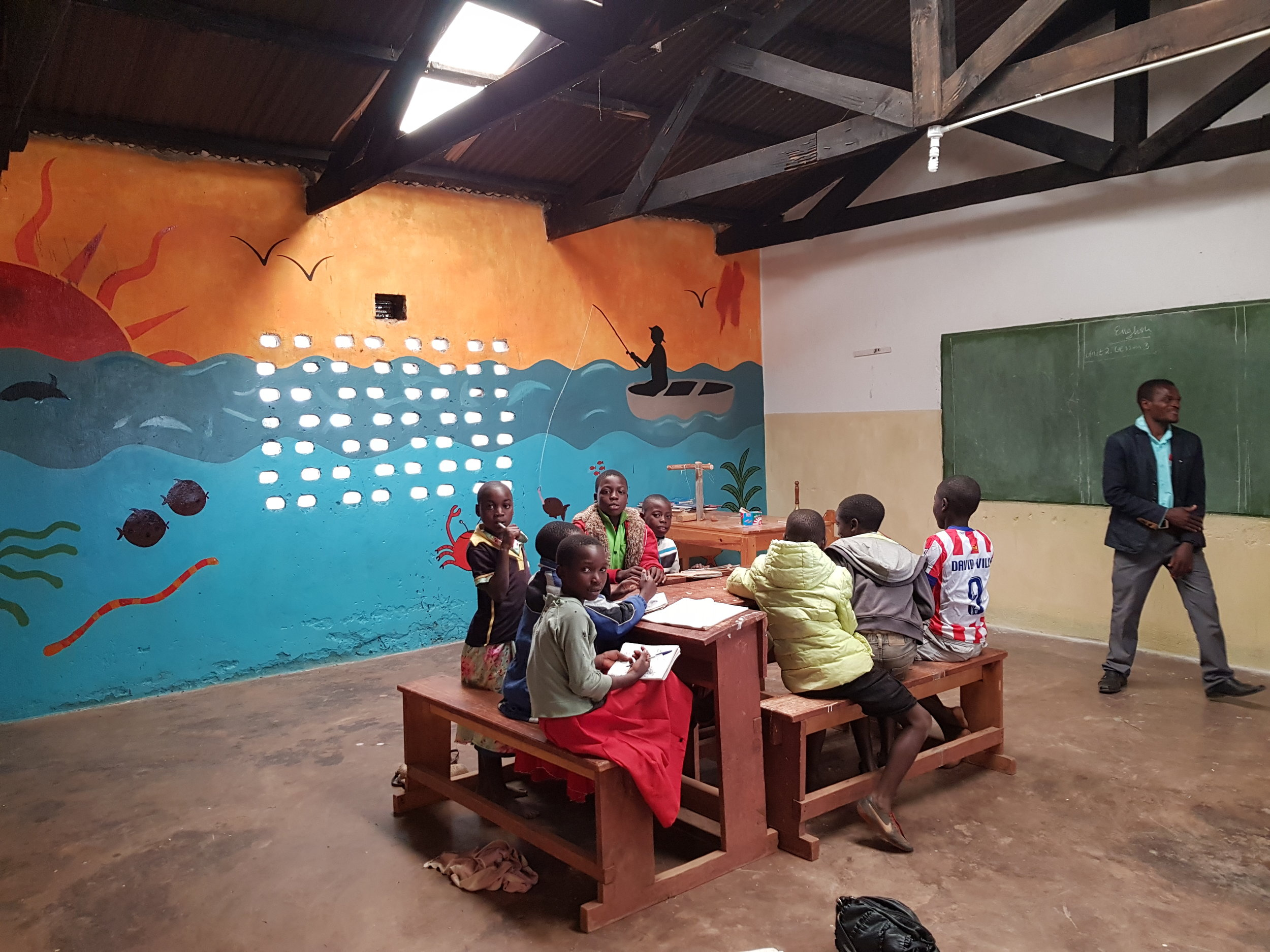 In one of the renovated classrooms at Mkoko Primary