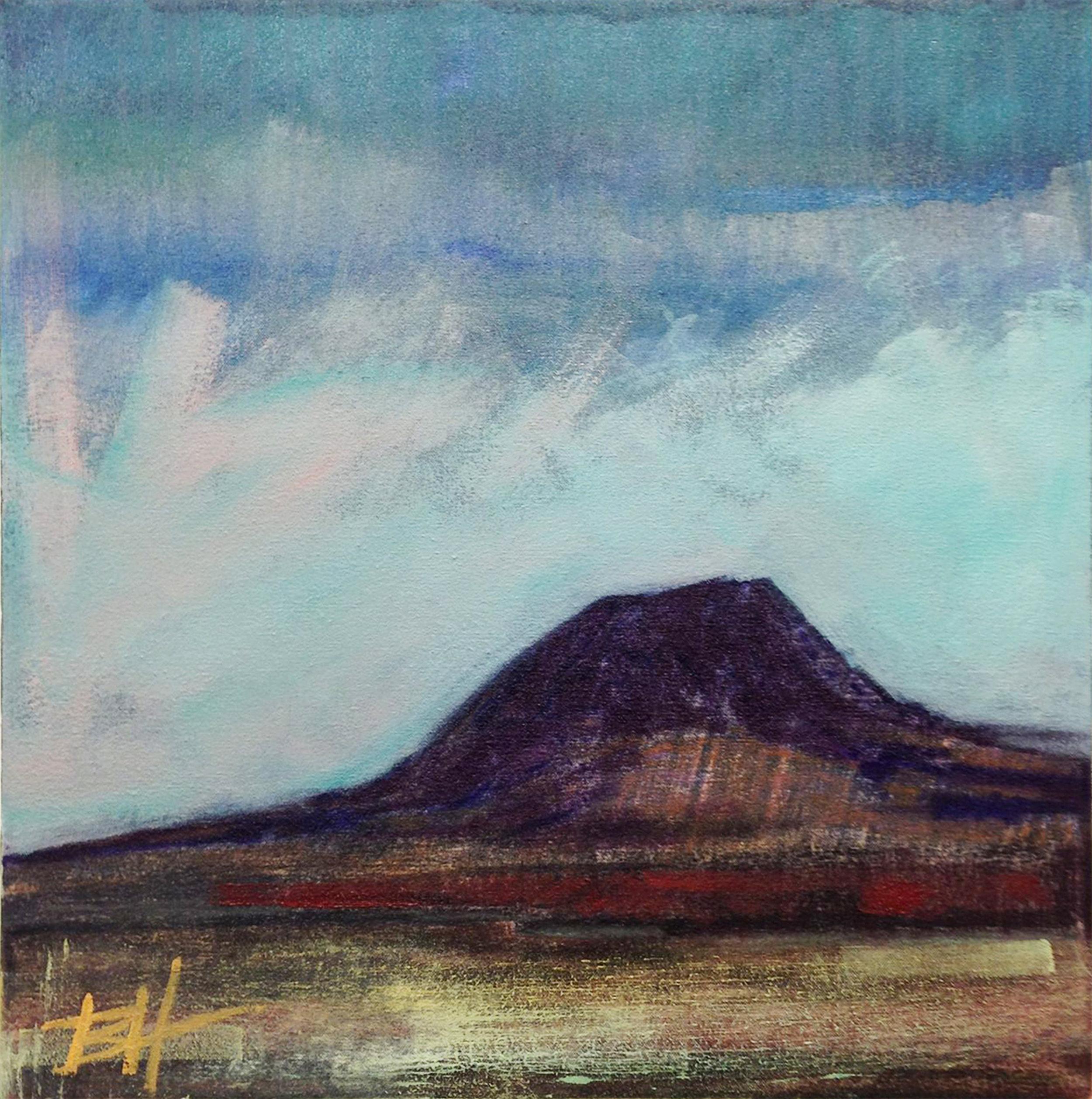 Springtime, Bear Butte  oil pastel on paper, dimensions,  2017
