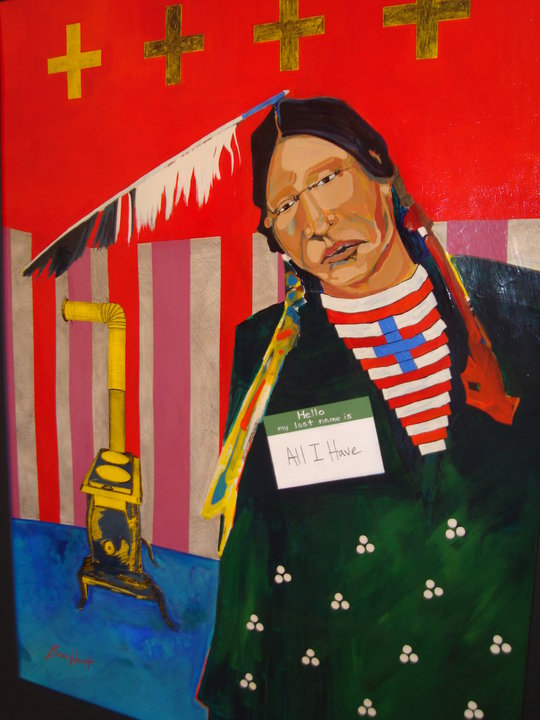 When All You Have is the Warmth of a Woodstove, and Your Grandfather's Last Name, 2010 // Mixed Media: Acrylic, Conte Crayon and Ash on Paper, Akta Lakota Museum Permanent Collection