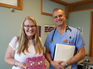 Author Teresa Werner (left) and Dr. Eric Blake (right) in one of our clinic's treatment rooms