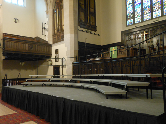 Risers in the sanctuary