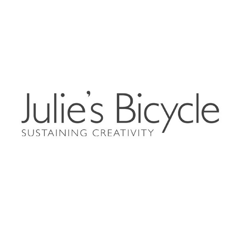 Julie's Bicycle   Established in 2007 by leading figures in the UK music industry, Julie's Bicycle is a non-profit company working across the arts and creative industries, providing expertise in environmental sustainability to over 350 organizations in the UK and internationally. With the BGA, Julie's Bicycle is the co-founder of the International Green Theatre Alliance.