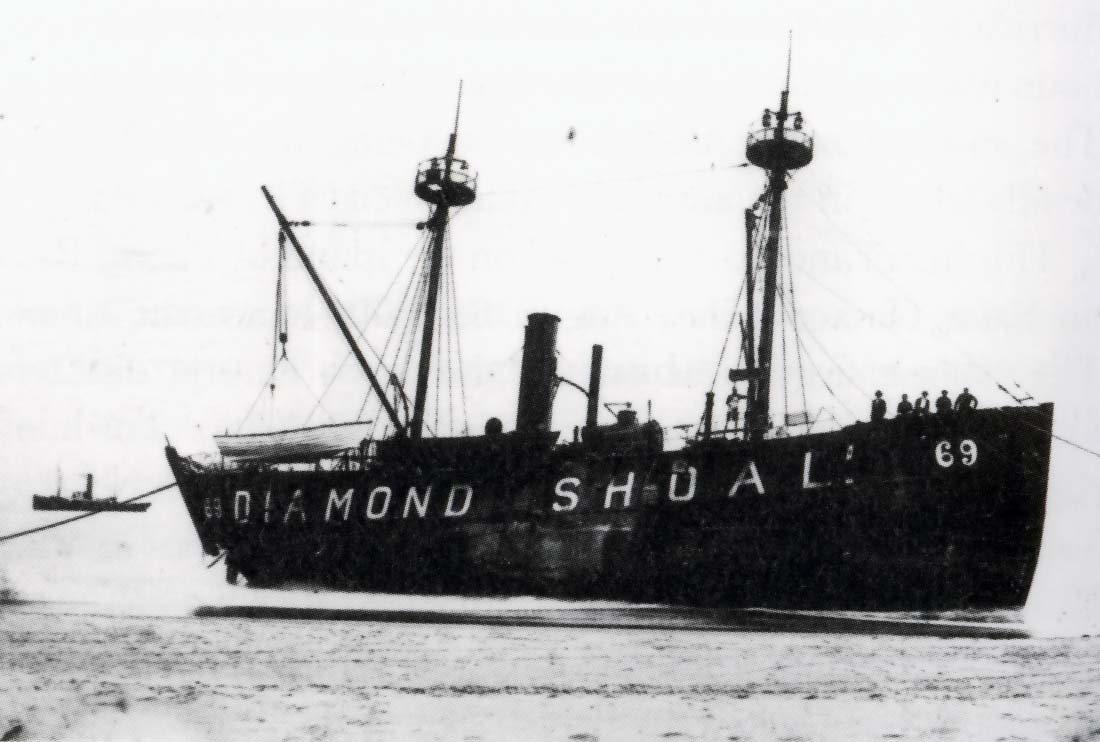 The Diamond Shoals lightship LV-69 was driven ashore during the storm.