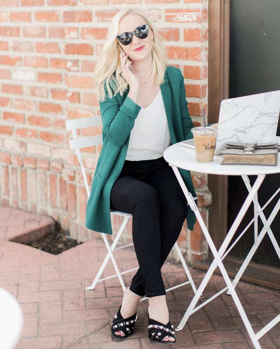 Bold color - with classic basics for client meetings or coffee dates