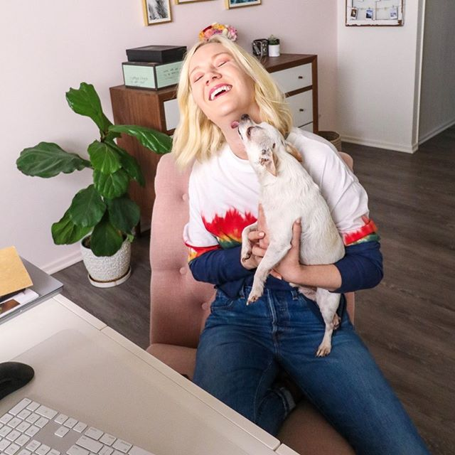 Around here, everyday is #TakeYourDogToWorkDay 🐶💕 Got a furry friend who makes work-from-home life a little sweeter? Tell me about them!  And if they have their own IG account, link it so I can spam them with likes and 😍 emojis  #workfromhome #dogmom #freelancelife #takeyourdogtowork #homeoffice #thefutureisfreelance #freelance