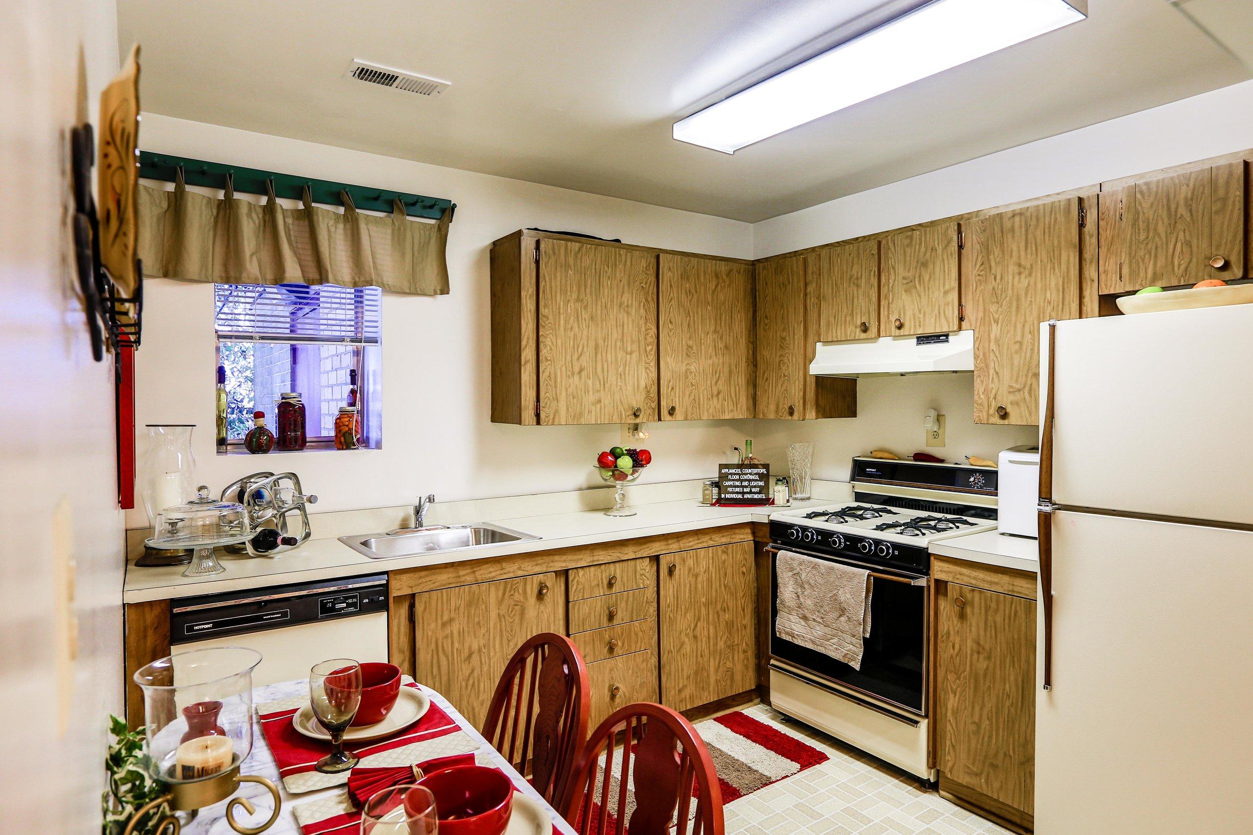 Classic Laminate Cabinetry, Linoleum Kitchen Floor