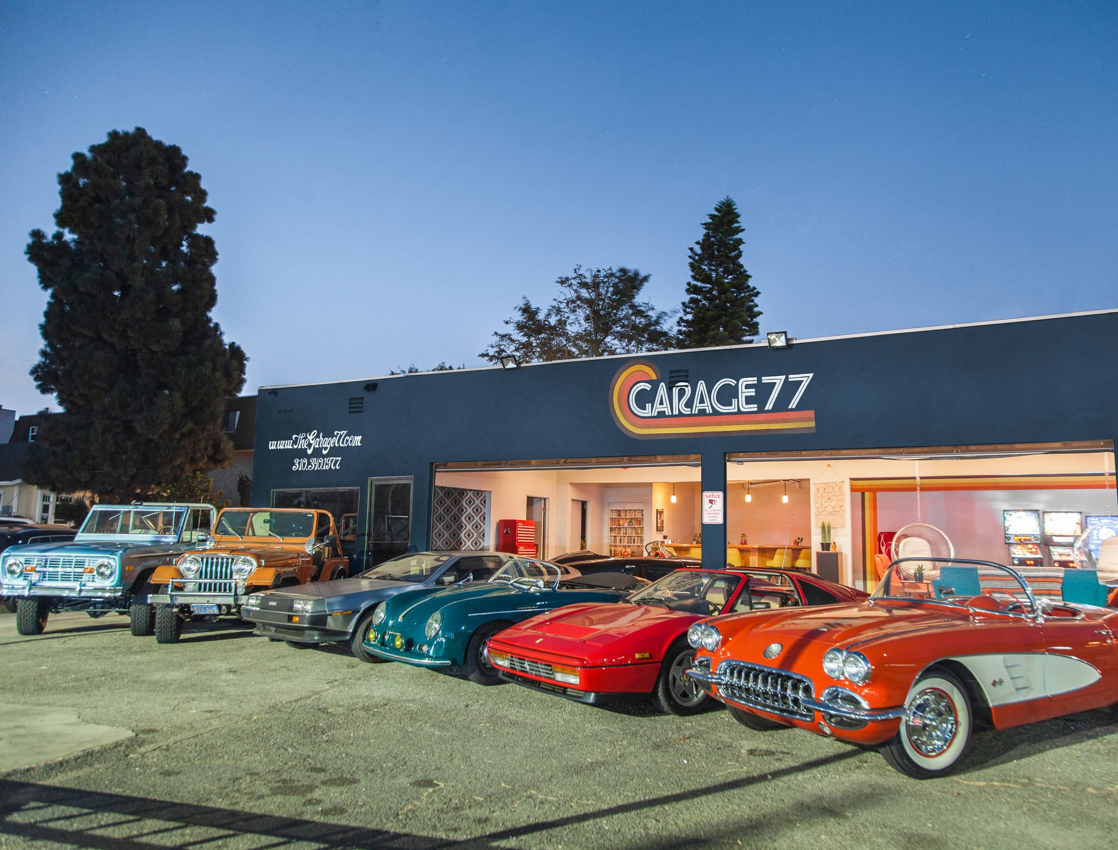 Check Out The Fleet. - Our current line up of cars includes a '59 Corvette C1, '75 Ford Bronco, '87 Ferrari 328 GTS, '56 Porsche 356 Speedster Tribute, '67 Chevy Camaro, '61 Lincoln Continental, and a '77 Jeep CJ-5.