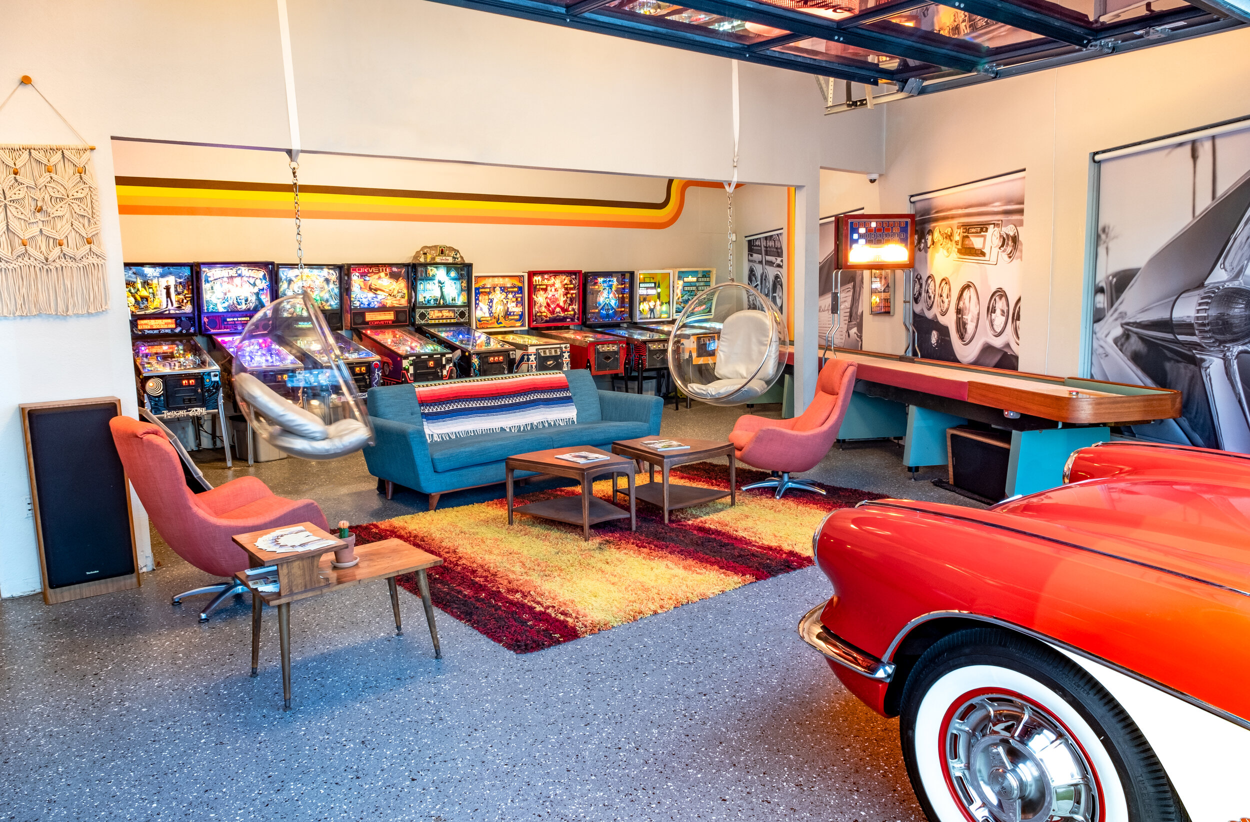 The Deal - Garage 77 is a community where members have real-time access to a fleet of eight classic cars, a shared 70's inspired clubhouse with pinball, shuffleboard, work-space, social areas and member-only events. Contact us to schedule a tour of Garage 77, experience our fleet and learn more about what membership has to offer!