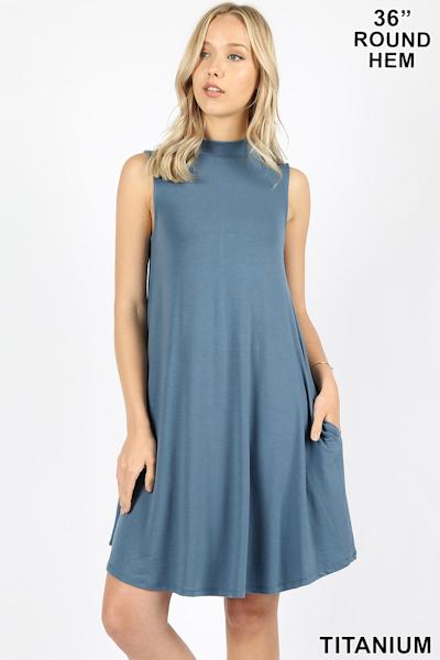 Zenana Premium Mock Dress - Titanium
