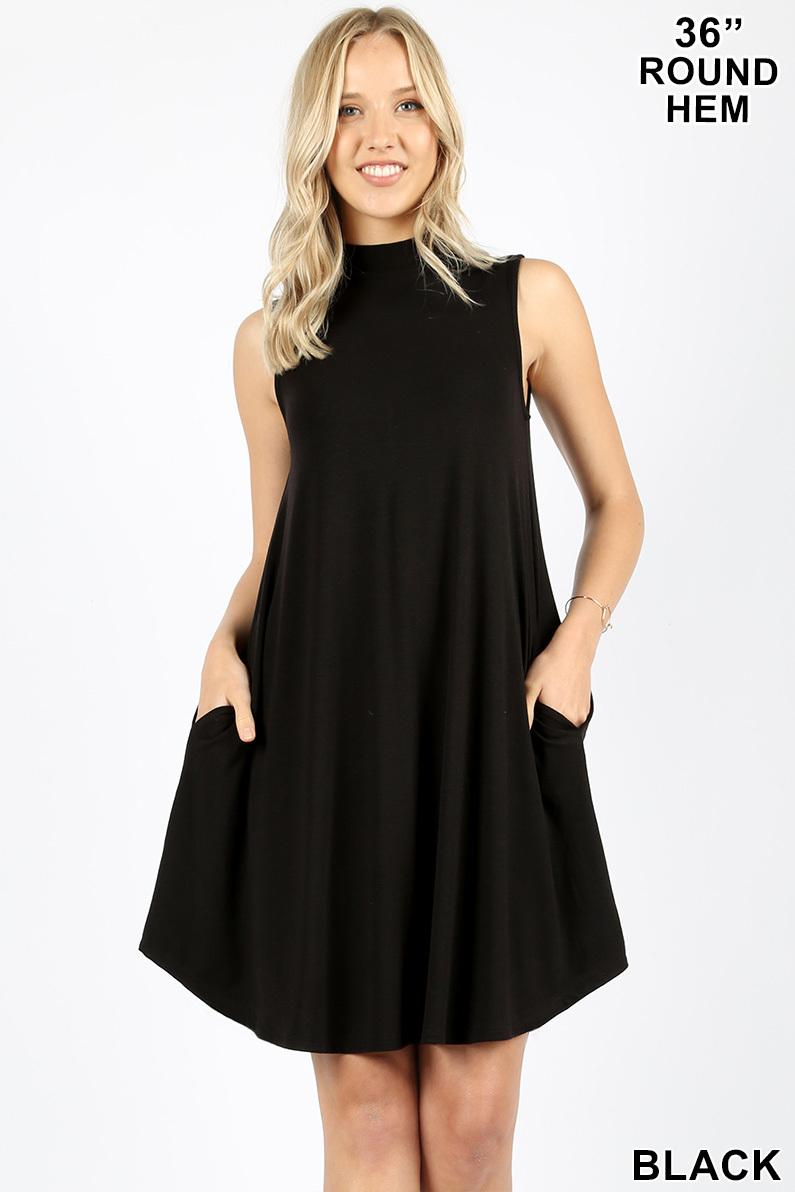 Zenana Premium Mock Dress in Black