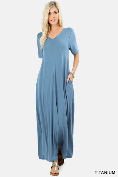 Ezenana Premium Fabric V-Neck Short Sleeve Maxi Dress - Titanium