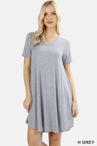 Zenana Premium Fabric V-Neck Short Sleeve Round Hem A-Line Dress with Pockets - Grey