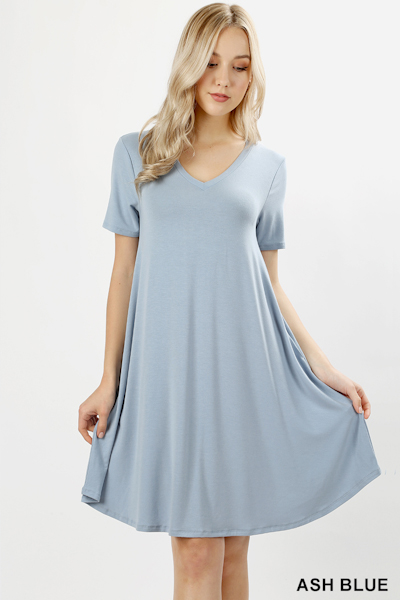 Zenana Premium Fabric V-Neck Short Sleeve Round Hem A-Line Dress with Pockets - Ash Blue