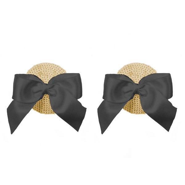 Nippies Gold Sequin Black Bow Pasties in Marilyn Gold
