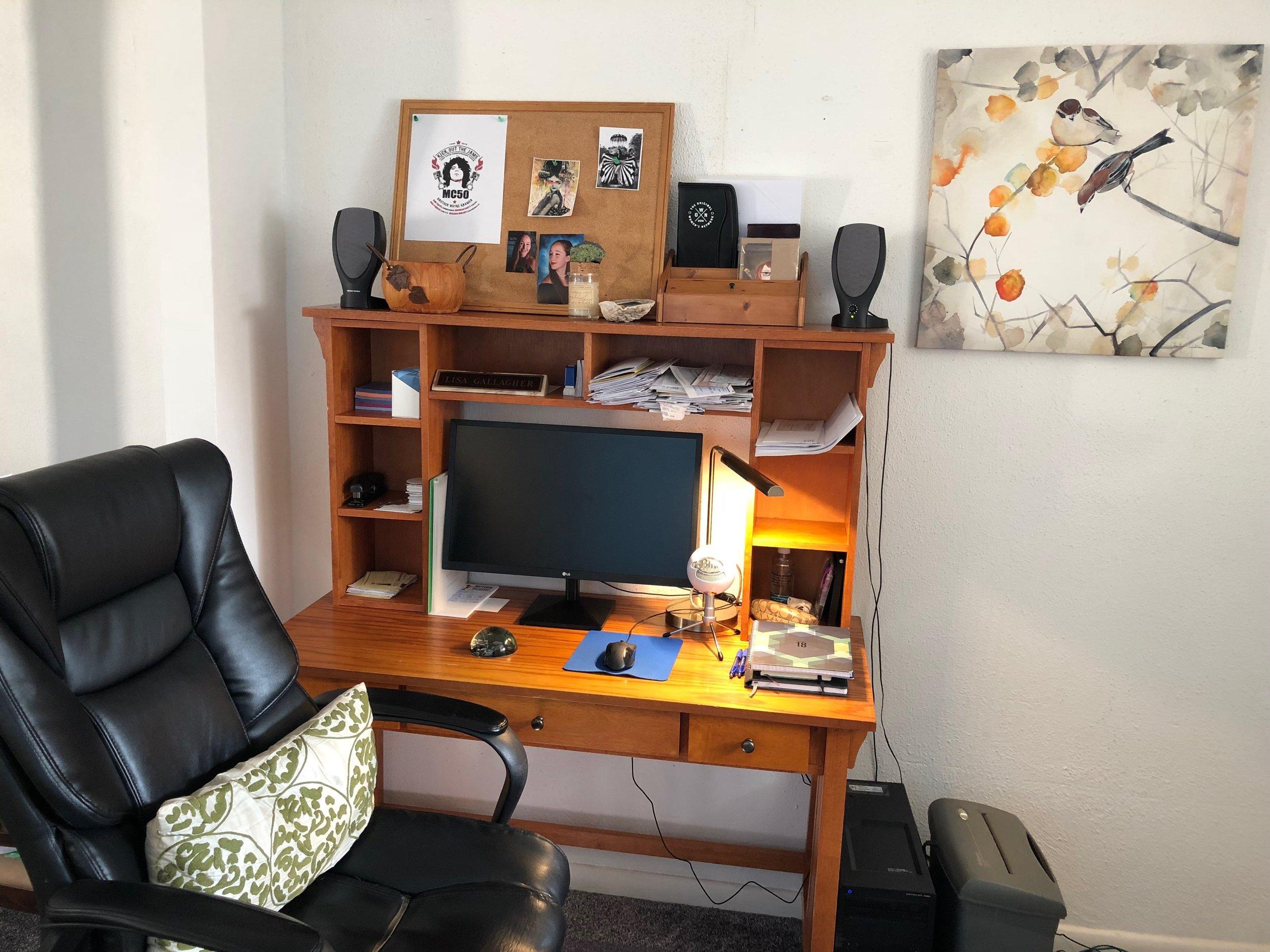 Lisa Ann favors modern design with warm appeal, like the brass light fixture on her desk.
