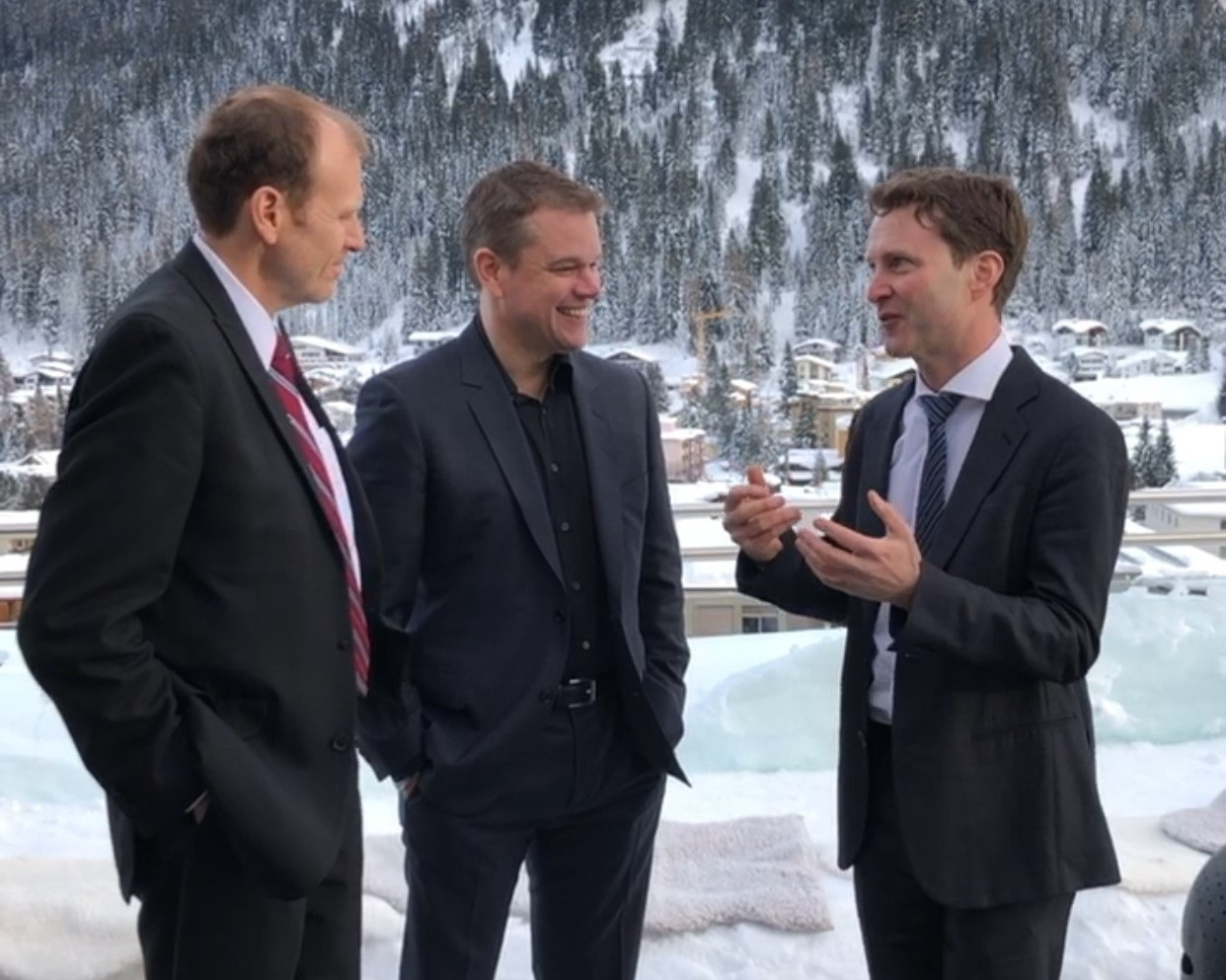 Gary White and Matt Damon of Water.Org with Paul O'Callaghan, CEO BlueTech Research filming in Davos Switzerland