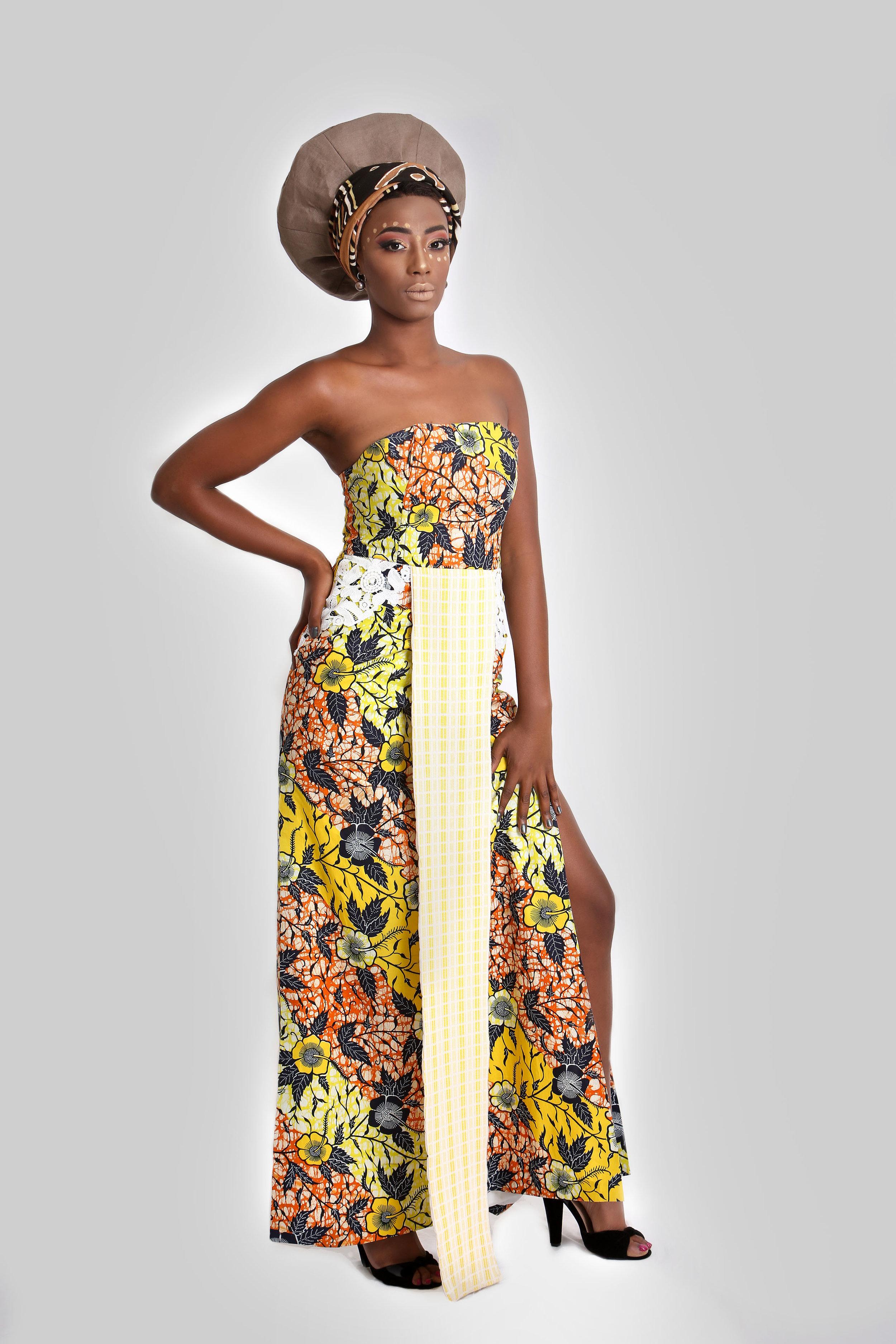 """La robe  Nandi  de la collection  """"African Queens"""" , créée par Rachel-Diane pour Niango. Elle lui a été inspirée par la reine Nandi de Zululand. Crédit photo: Genevieve Sauvalle"""