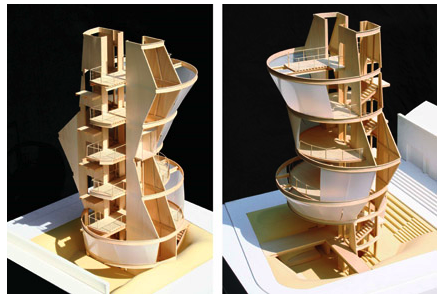 Models for the Samitaur Tower by Eric Owen Moss