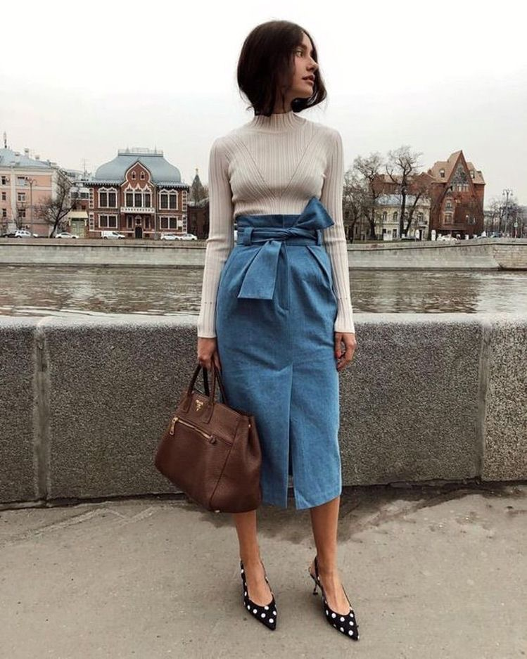 With this look I love the skirt and a great turtleneck is a classy & timeless addition to any outfit.