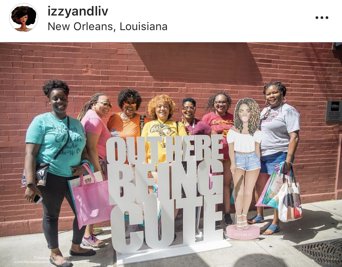 "Another view of the ""Out Here Being Cute"" Sign which was posted outside of the Izzy & Liv Pop Up Shop. This was a great way to extend the brand beyond the walls of the pop-up shop."