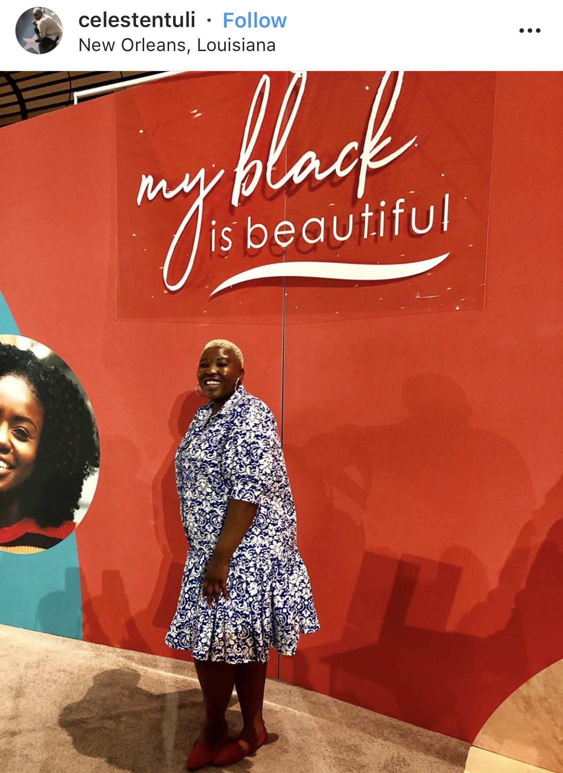 "Another example of a branded wall with a popular phrase ""My Black is Beautiful"" that really resonates with the target audience."