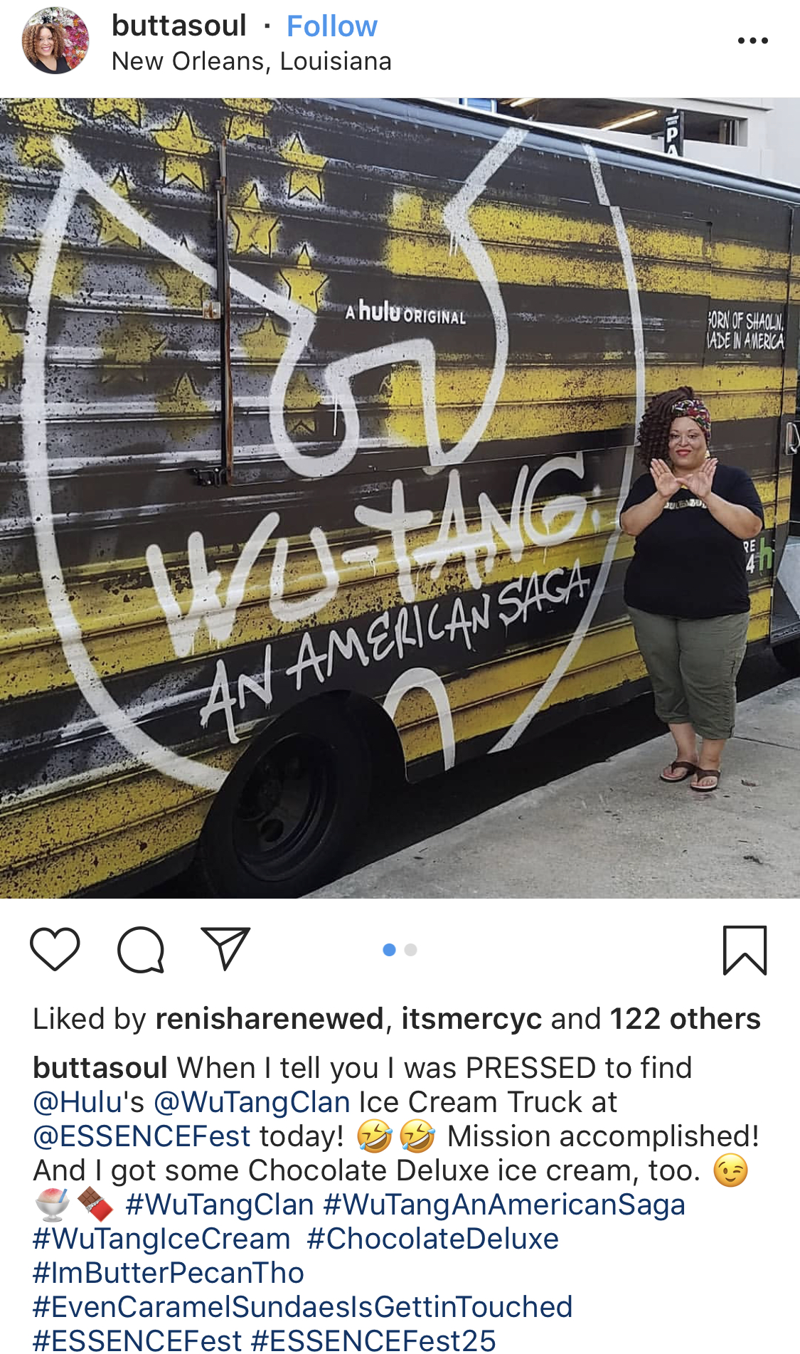 "This was an incredible brand experience activation! The ""Ice Cream"" truck picks up on Wu Tang's lyrics and is decorated in a way that advertises the new Wu Tang Show on Hulu. The truck itself, is also a photo opp! Great job hitting multiple touchpoints Hulu with this one!"