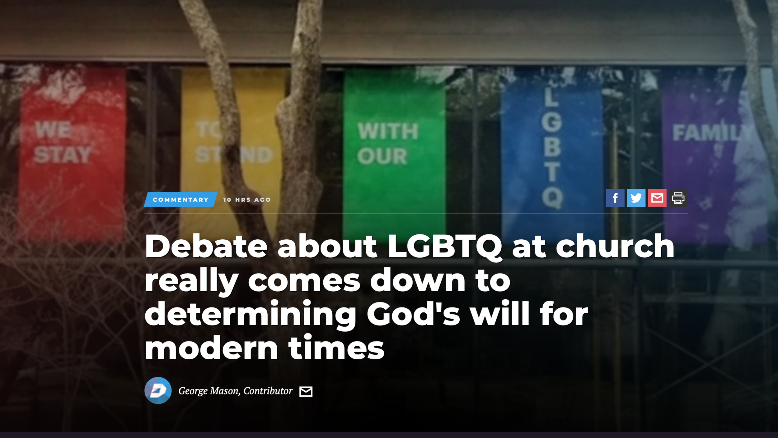 Debate about LGBTQ at church really comes down to…   Read More —>    March 26, 2019