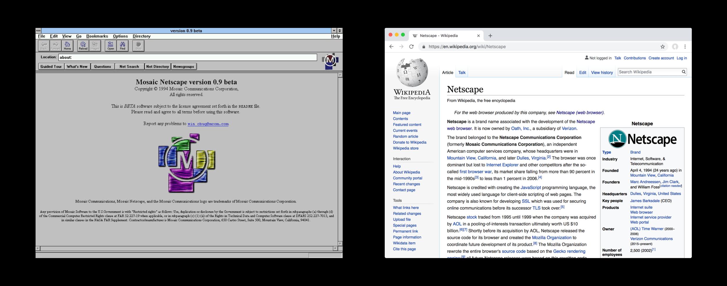 Netscape Navigator 1994 and Google Chrome 2018 (24 years). URL input bar, prominent navigation controls, back/forward linear navigation.
