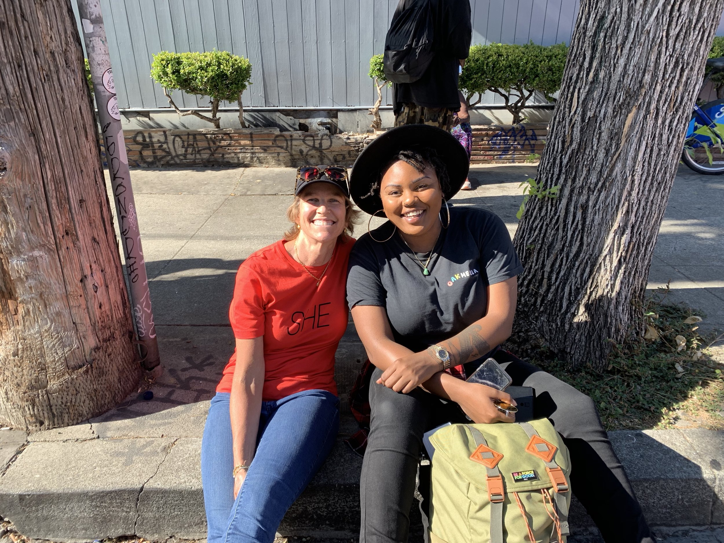 """That's me with Bijou, otherwise known as DJ Kream (founder of Oakhella). LOVE all these female creatives coming together for First Fridays July event, themed """"Art is Women"""". PS - I found that """"SHE"""" shirt in my closet, and it's our FURY colors to boot. Good juju."""