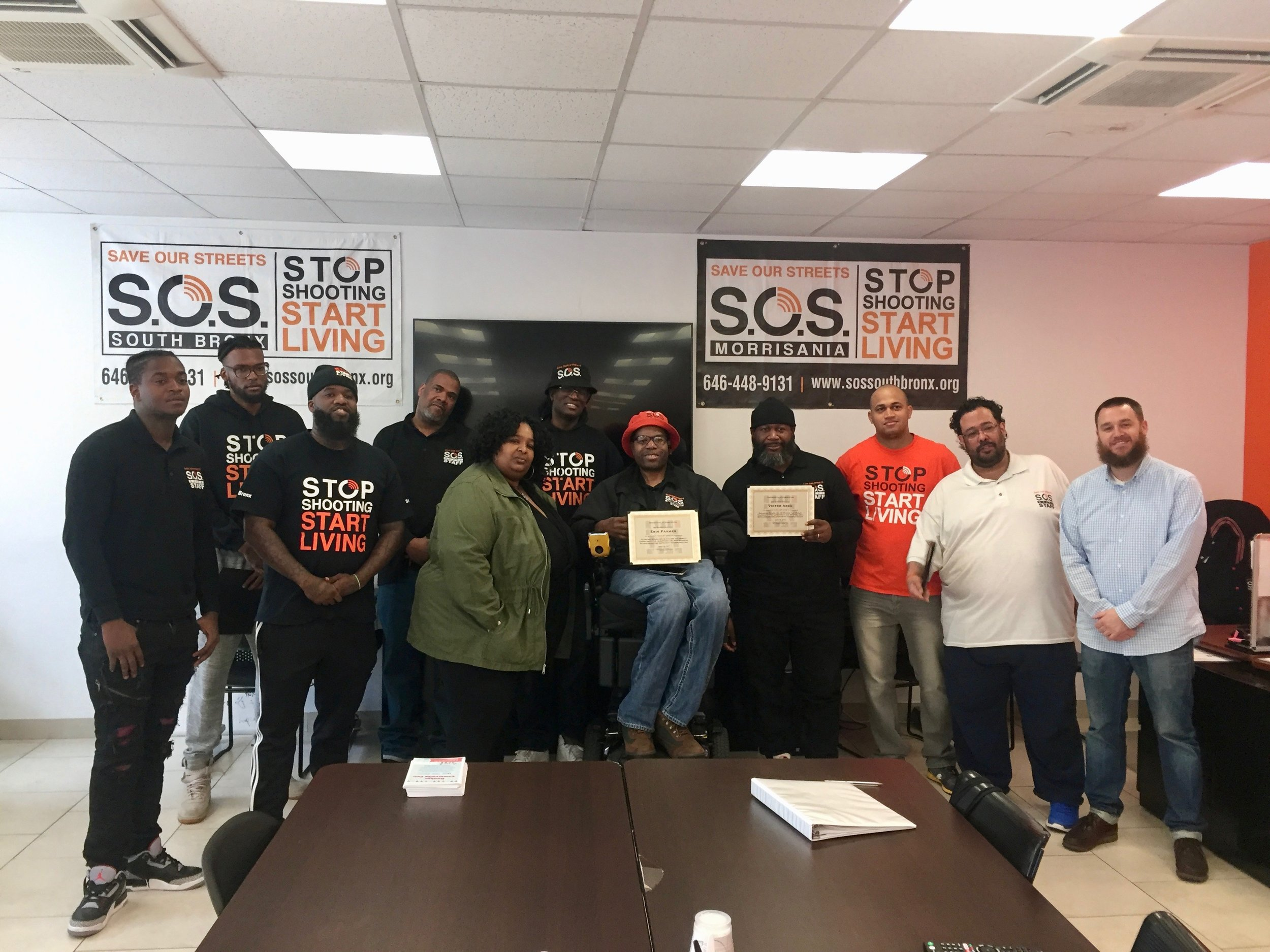 S.O.S. Bronx staff after a training.