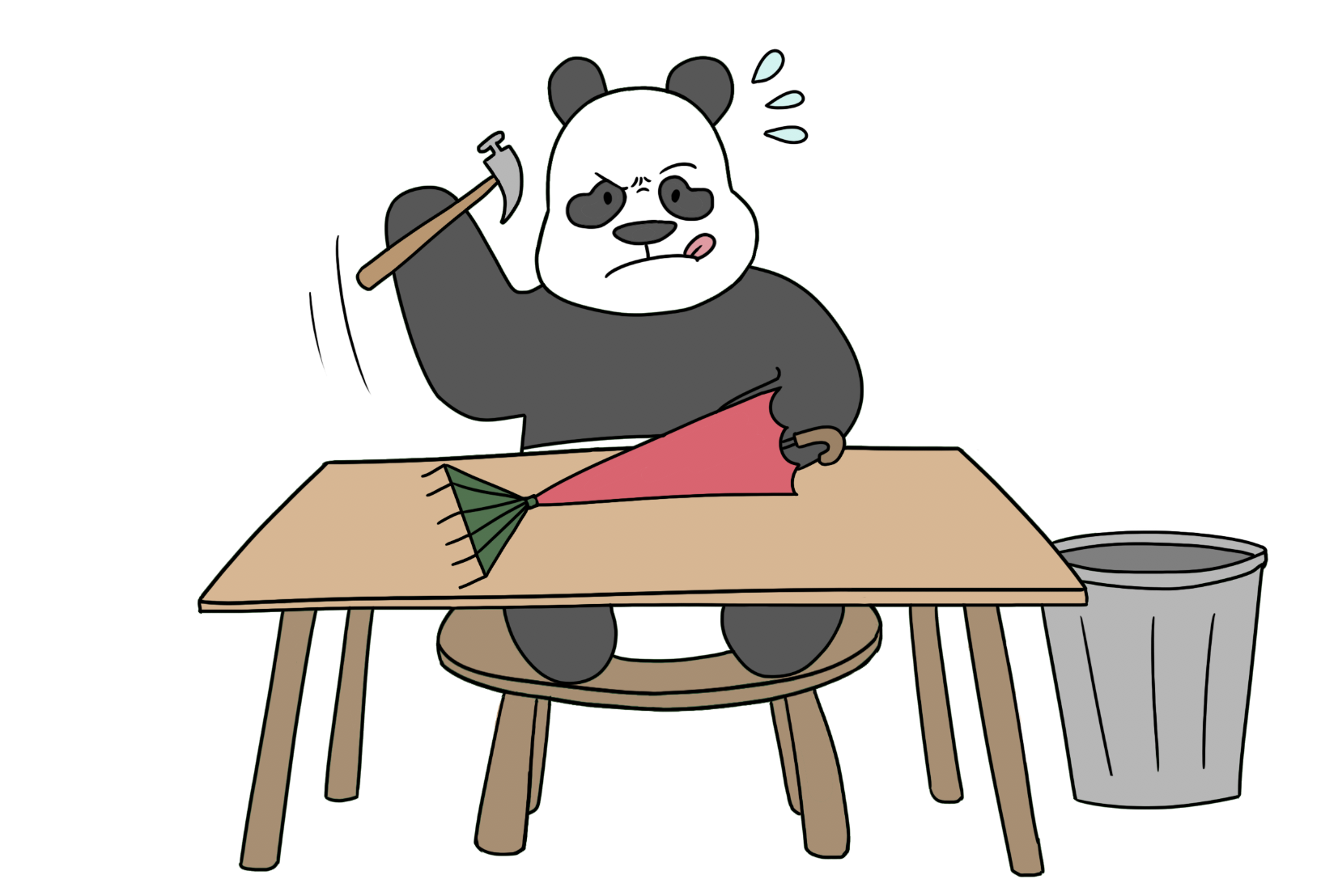 panda making rake umbrella