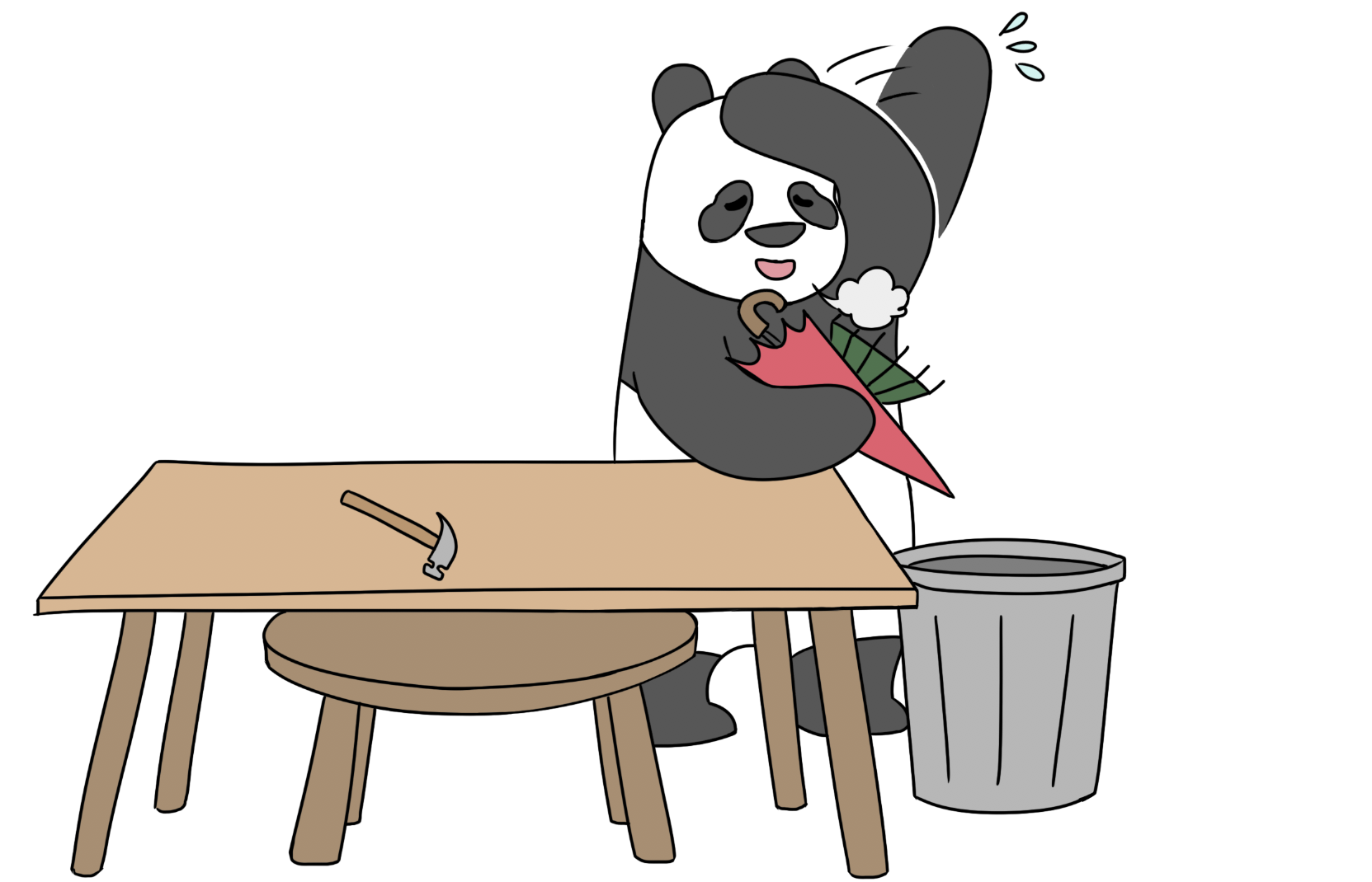 relieved panda