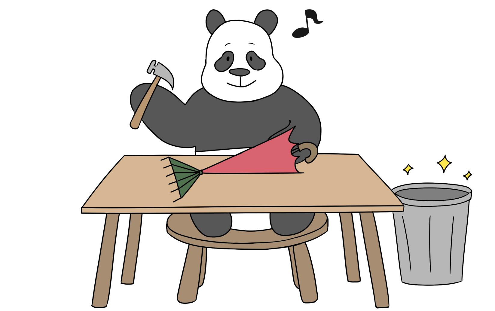 happy panda making umbrella rake