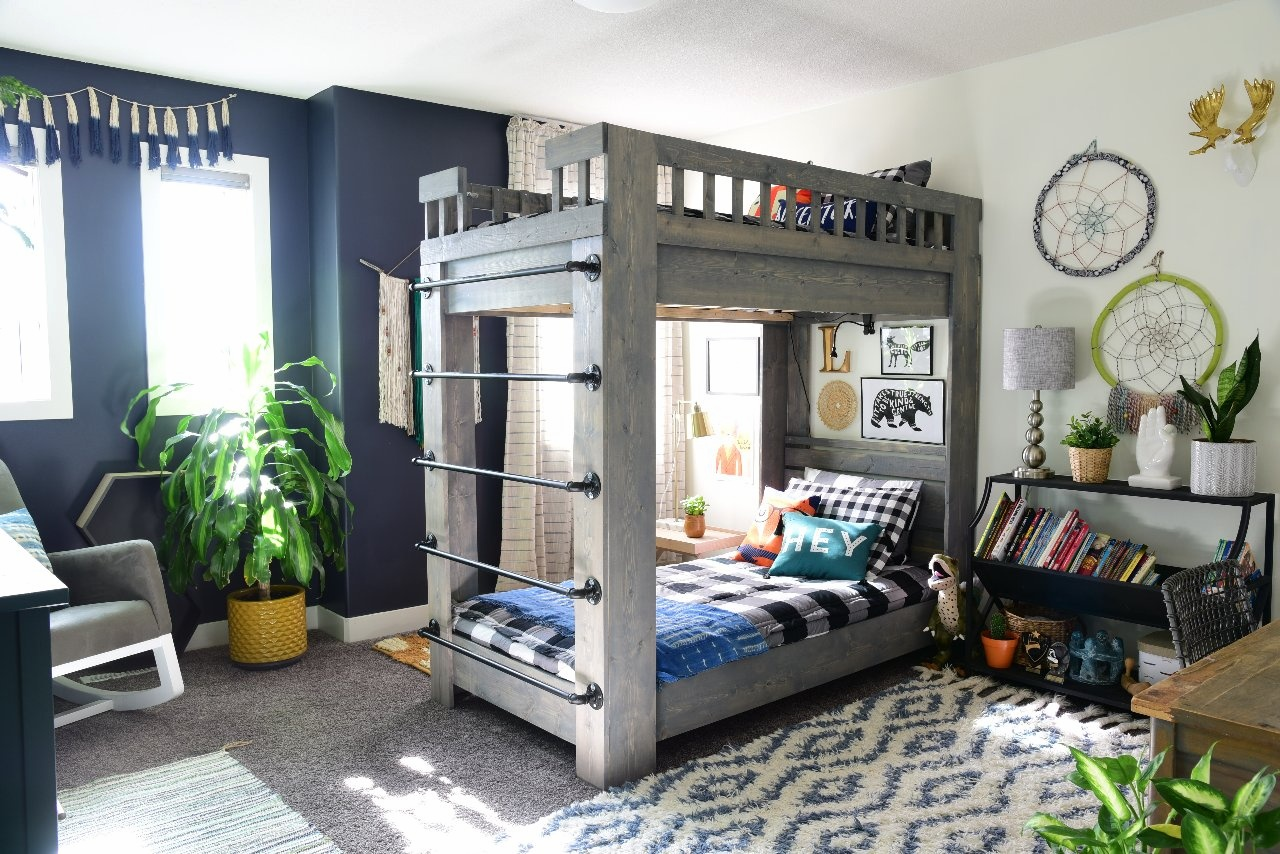 Three years ago we built them these bunk beds. You can find the tutorial  here . We tweaked the design a bit.