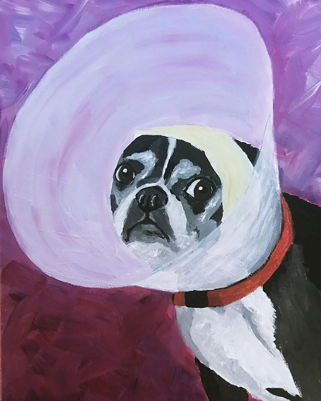 """After a painting hiatus, may I present """"Cone of Shame"""" or """"Blessed be the Fruit"""" #maythelordopen (model: Gator)"""