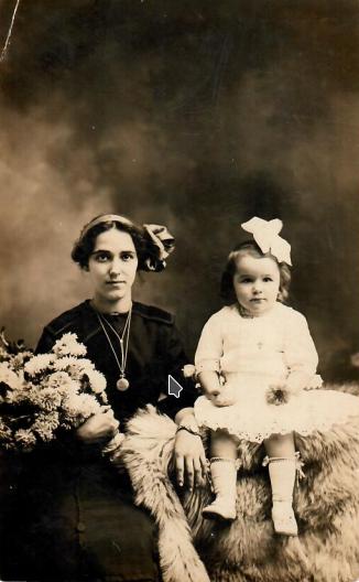 *Circa 1911 - My grandmother, Alexina (baby), with her sister, Eva