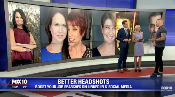 Scottsdale Headshot Specialist Tony Taafe appearing on FOX 10 to talk about what makes a great headshot.