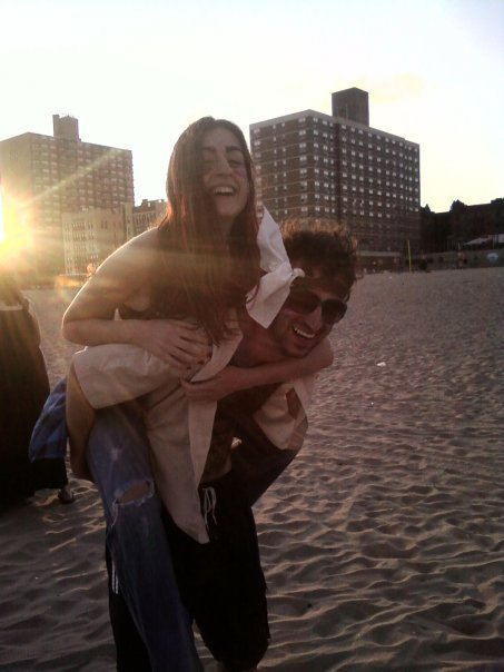 Our first photo together, July 14th, 2009. Brighton Beach.Our first Bastille Day. Our first kiss.