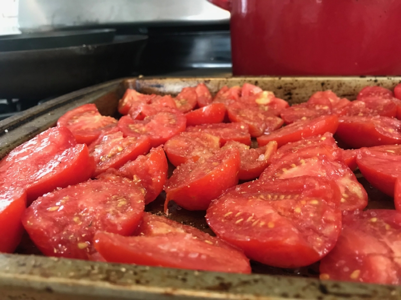 Tomatoes sprinkled with sea salt and coriander ready to lounge in the oven for six hours