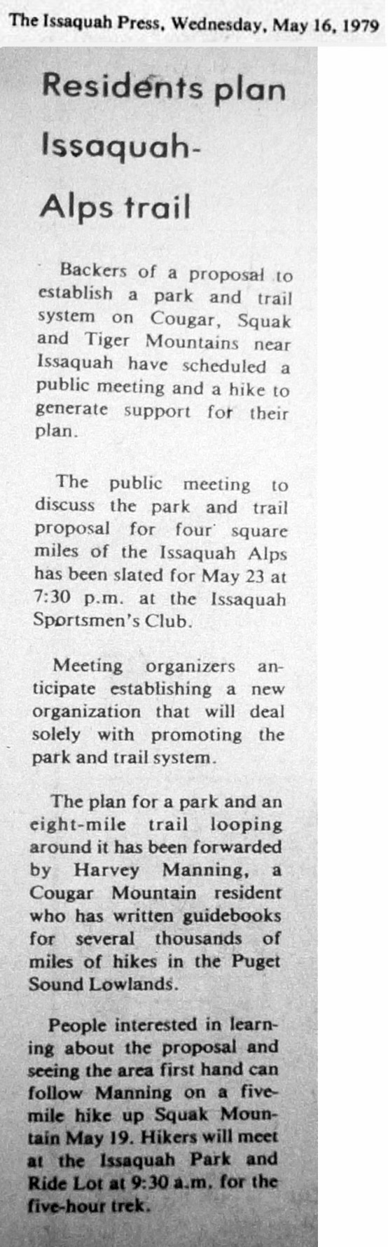 1979-05-16 Issaquah Press - Issaquah Alps Trails Club First Meeting - with dateline.jpg