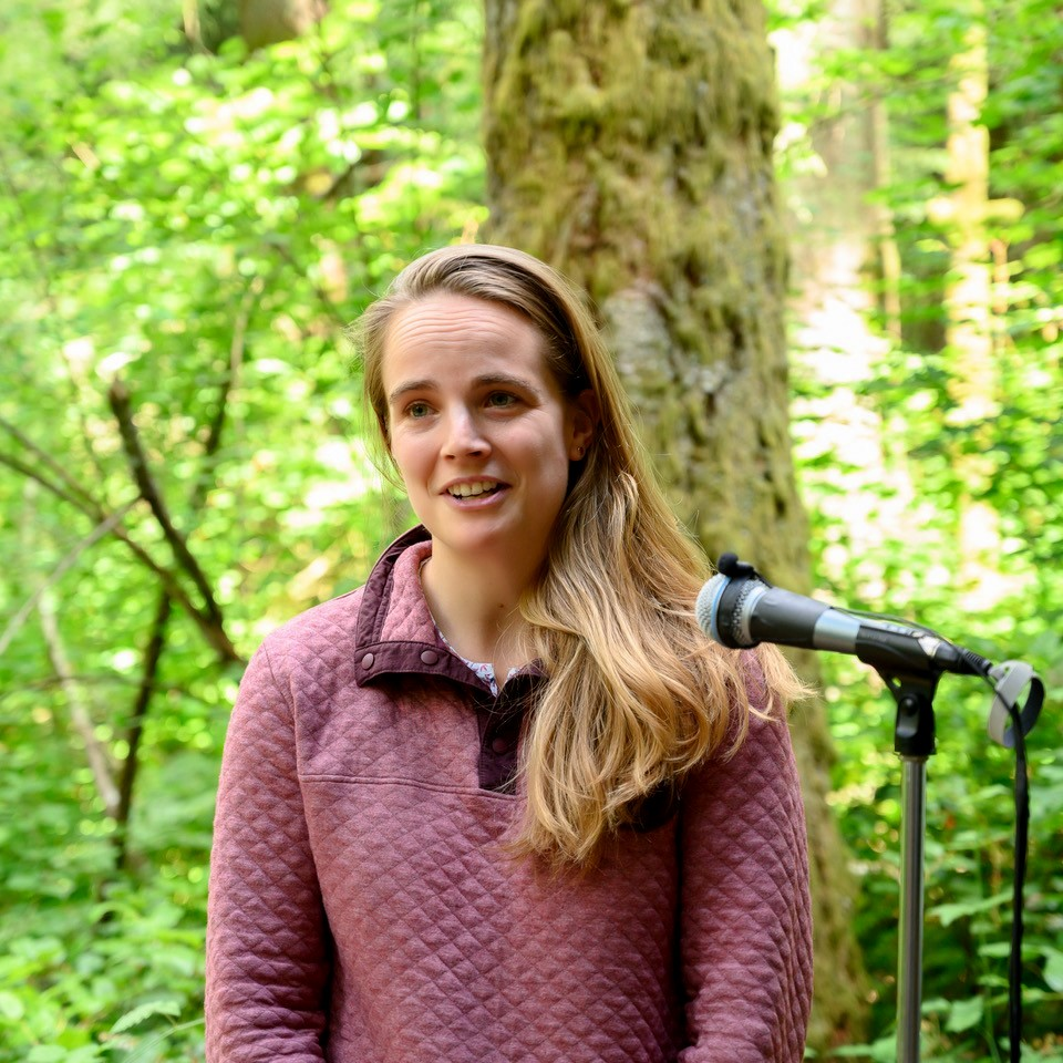 Katie Woolsey, DNR Land Steward, presents the role of the DNR in the Tiger Mountain conservation story.