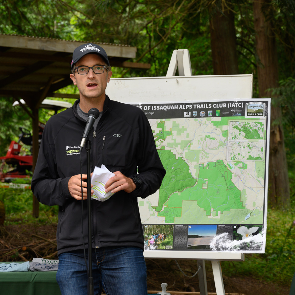 Ryan Dotson, King County Parks, speaks to the Squak Mountain conservation story.