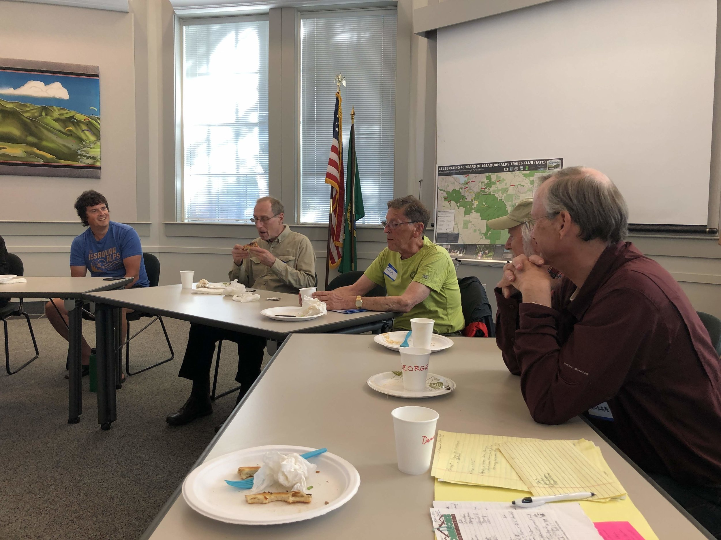 Hike Leaders discuss upcoming hikes, and strategize ways to involve new Hike Leaders in the program.