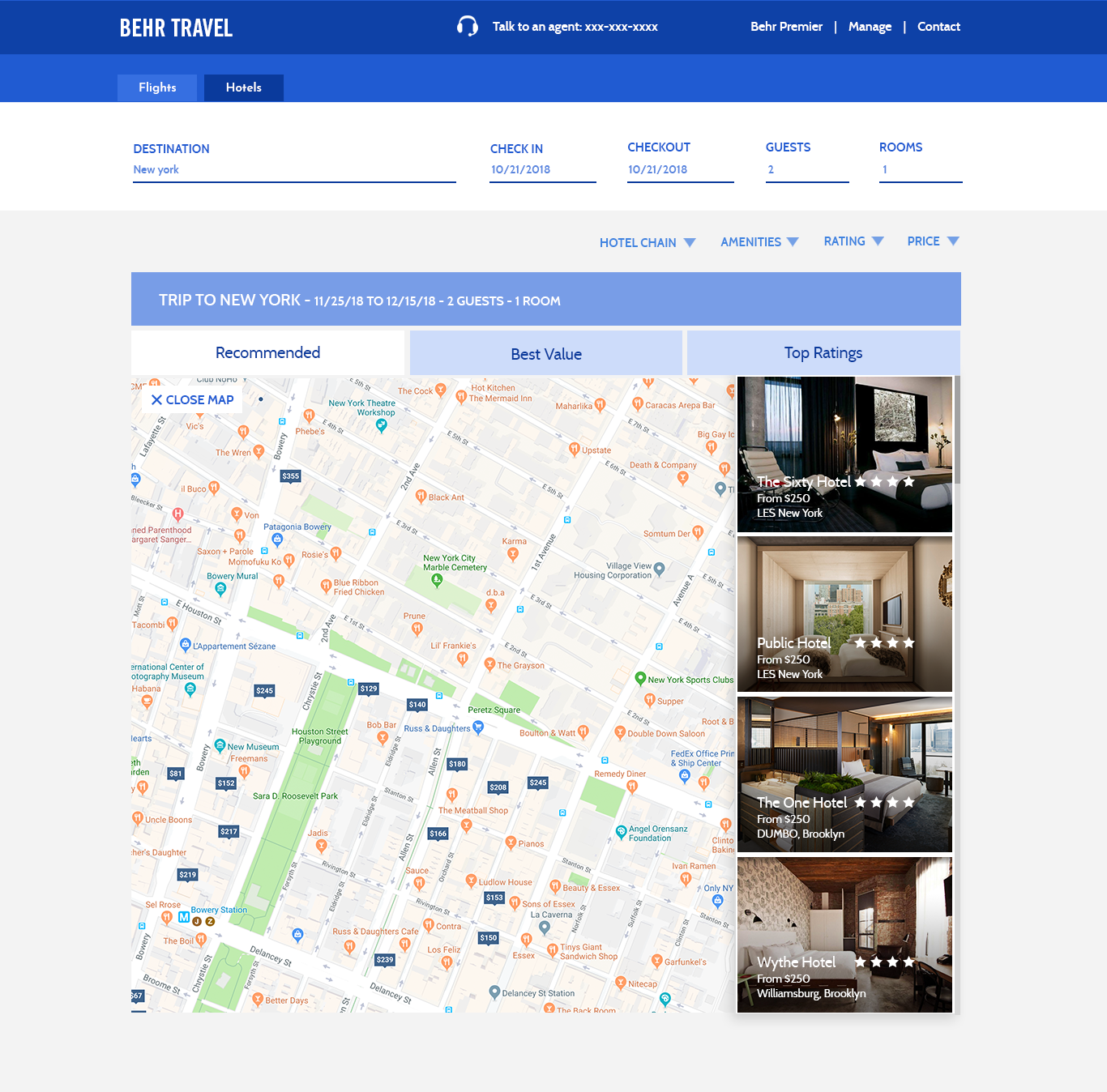 Hotels Map Result Page
