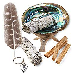 All in one smudge kit with sage and palo santos.