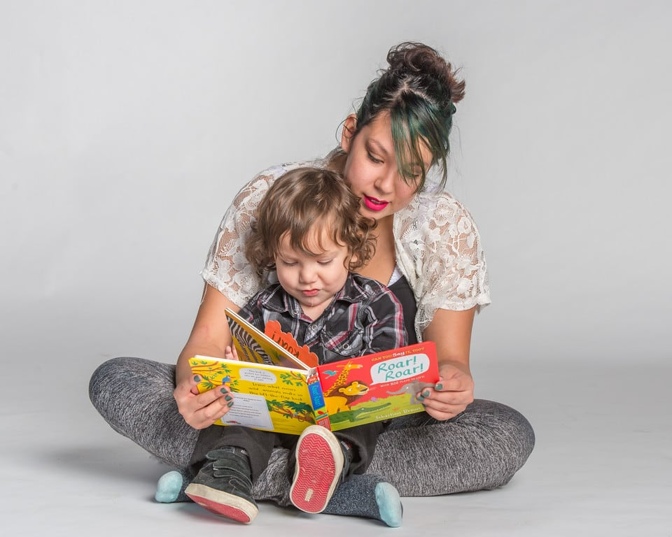 mother reading to son 1