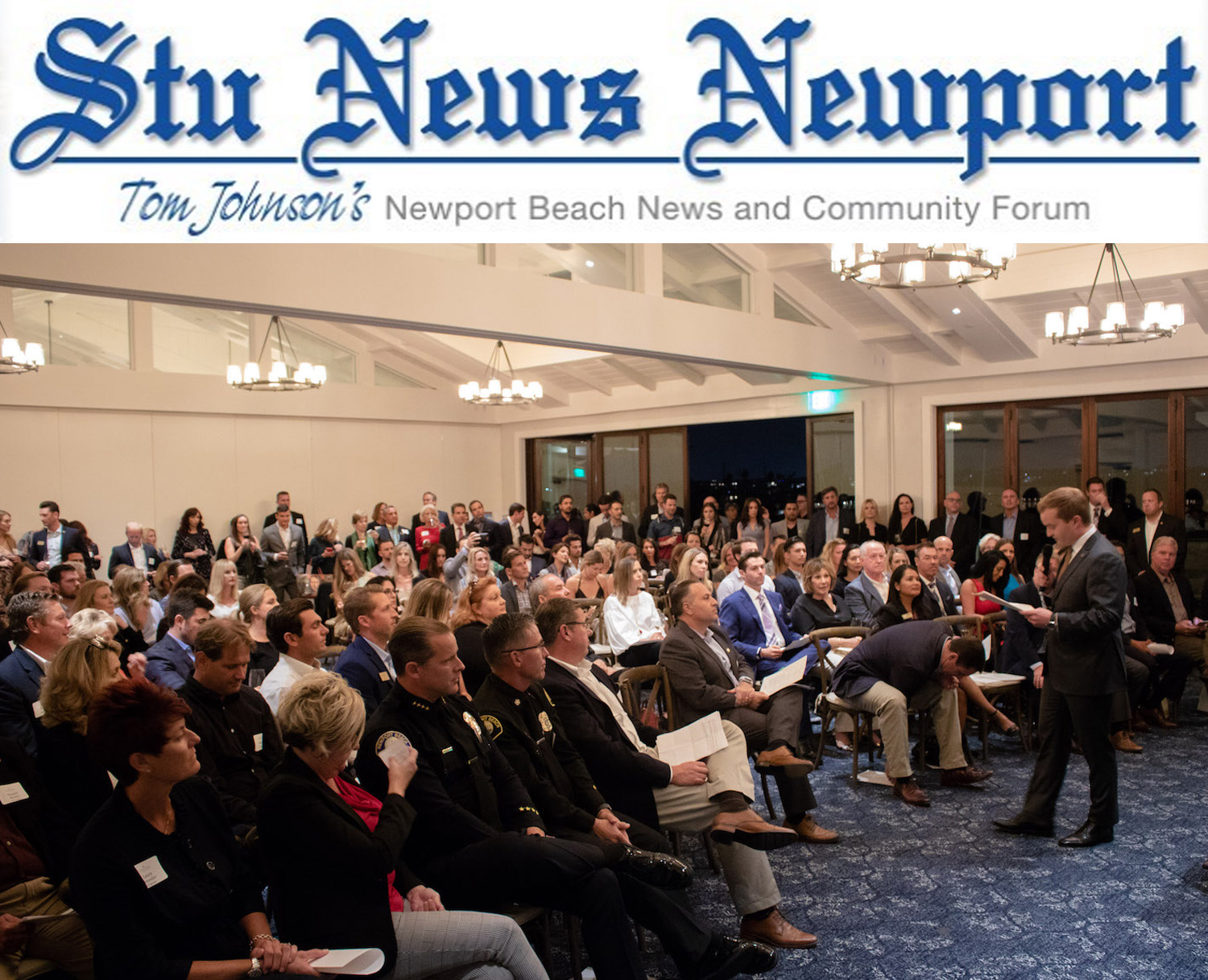 NB Foundation Chairman, Joe Stapleton, adresses a packed house at the Newport Harbor Yacht Club. (Photo courtesy of the Newport Beach Foundation)