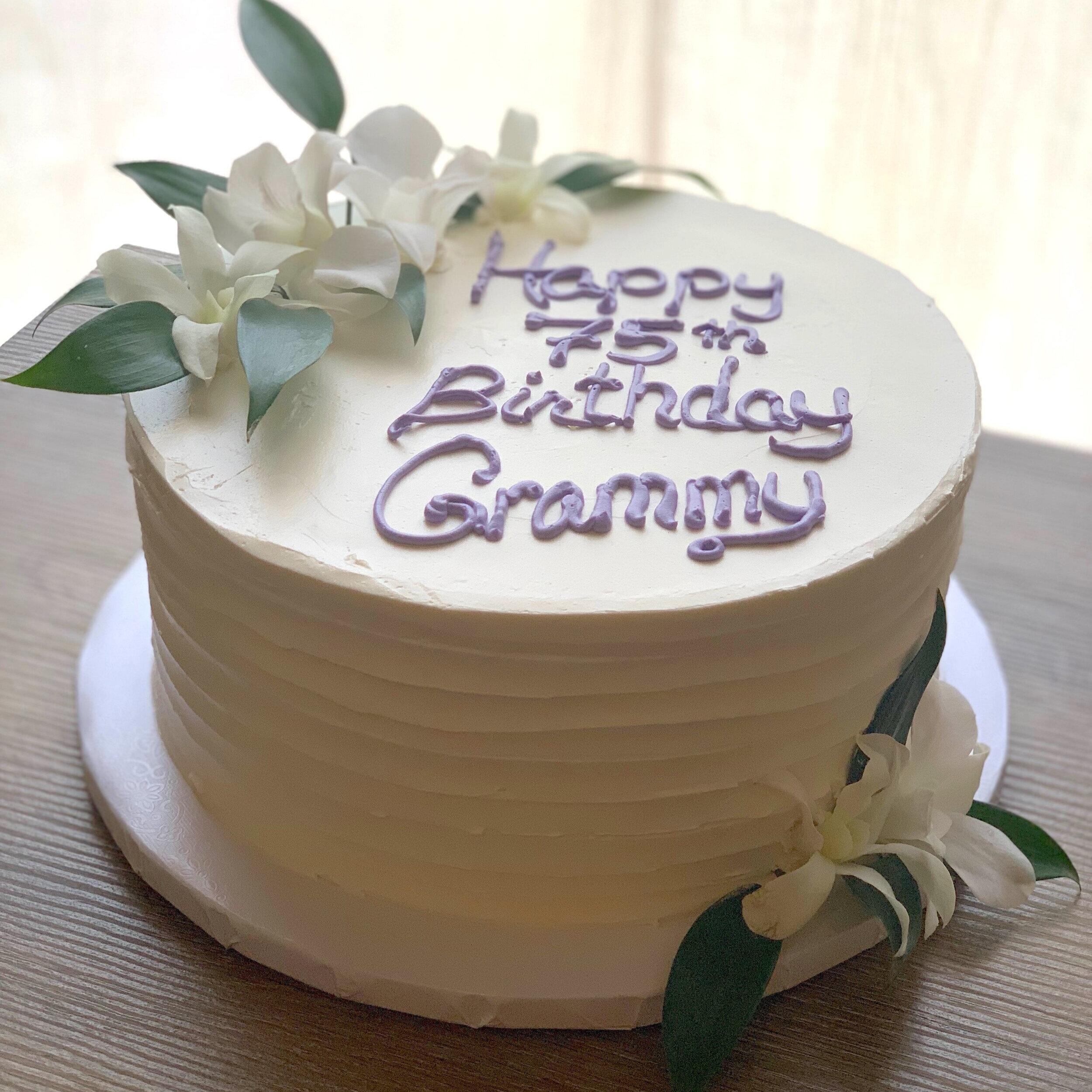 Lilikoi Vanilla Cake with fresh White Orchids